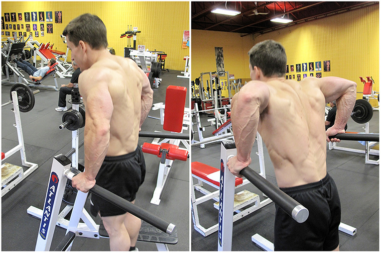 Denis Pedneault doing triceps dips